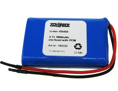 Li-Ion 103450 3.7v 1880mAh(no fuse) with PCM