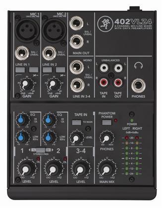 Mackie 402VLZ4 4-ch mixer w 2 onyx Preamps