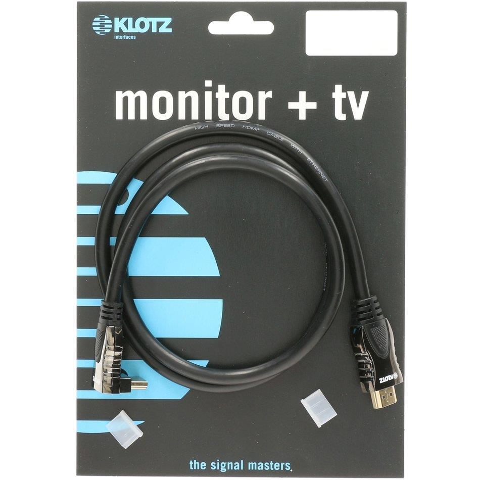 Klotz HDMI High Speed UHD 4k Ethernet kabel m/en vinkel 3m