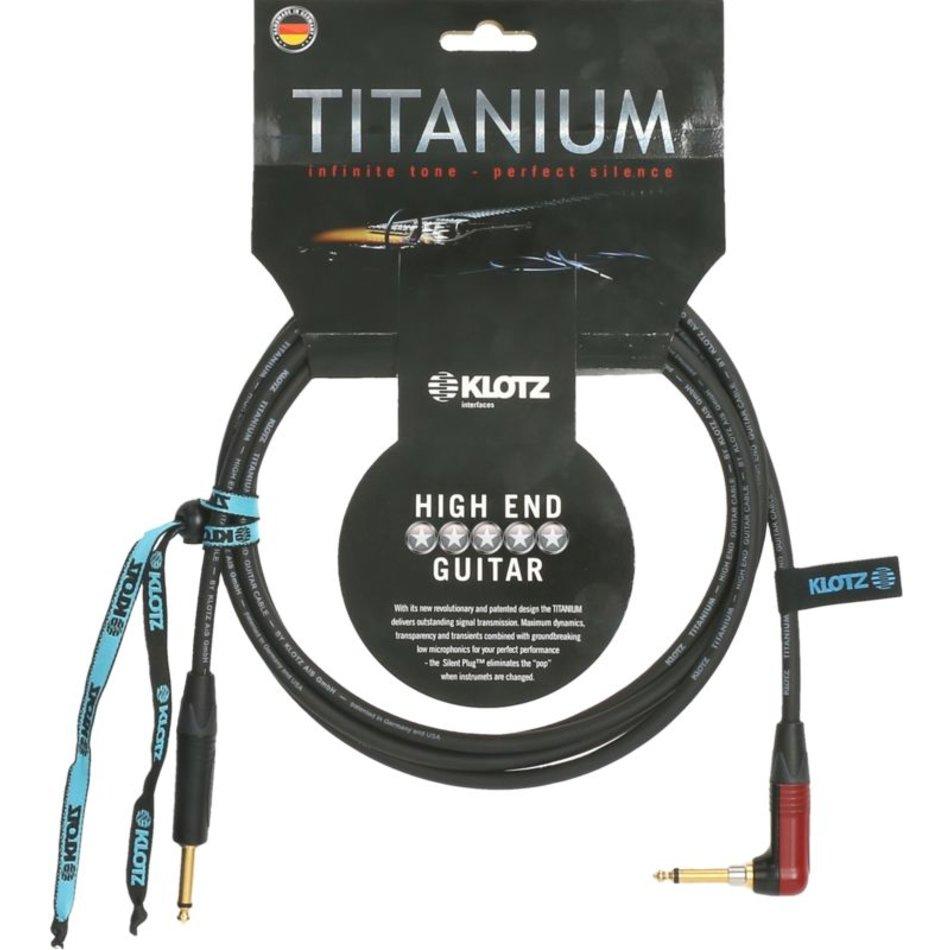 Klotz Titanium gitarrkabel med silentPLUG vinklad 3m
