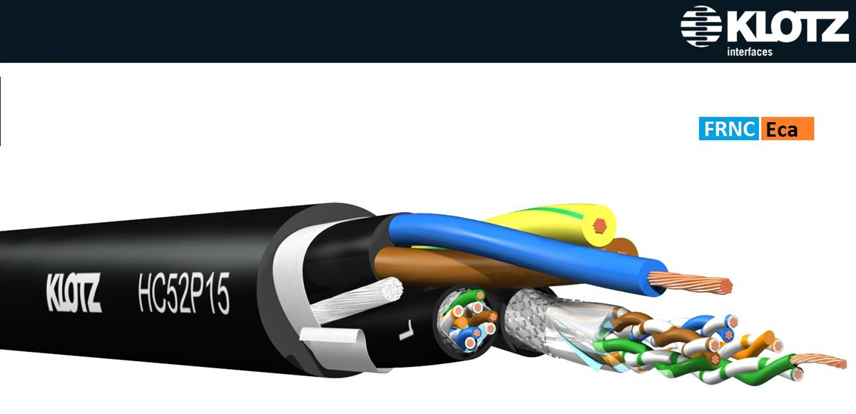 Klotz hybrid kabel 2 X CAT5e SF/UTP Patch Ström 1,5mm2
