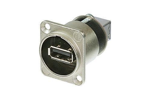 Neutrik NAUSB-W USB 2.0 chassis A-B Vendbar nikkel IP65