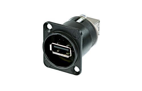 Neutrik NAUSB-W-B USB 2.0 chassis A-B Vendbar sort IP65