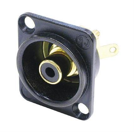Neutrik NF2D-B-0 phono chassis Hun Sort D-type isolert RCA