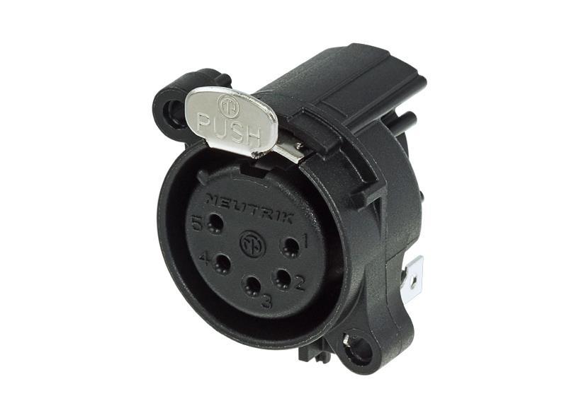 Neutrik NC5FAH XLR receptacle chassis 5P Hun Horisontal PCB