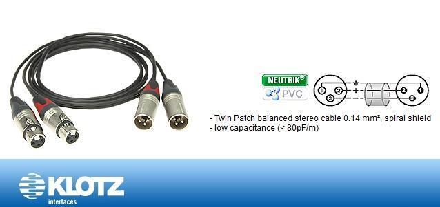 Klotz stereo mik kabel 2xXLRF-2xLRM 1 m