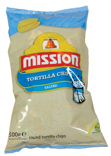 Nacho tortilla chips rund 12/500 g mission
